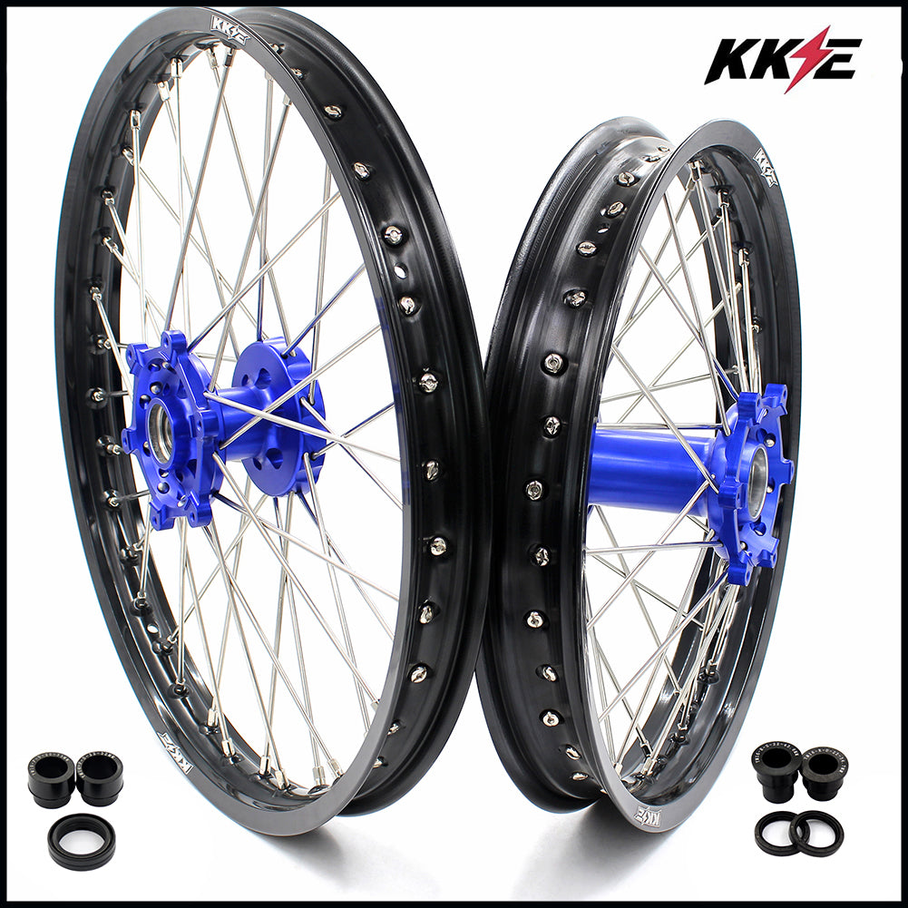 KKE 21 & 18 Enduro Wheels Rims Set for Yamaha WR250R 2008-2017 Dirt Bike Blue Hub Black Rims