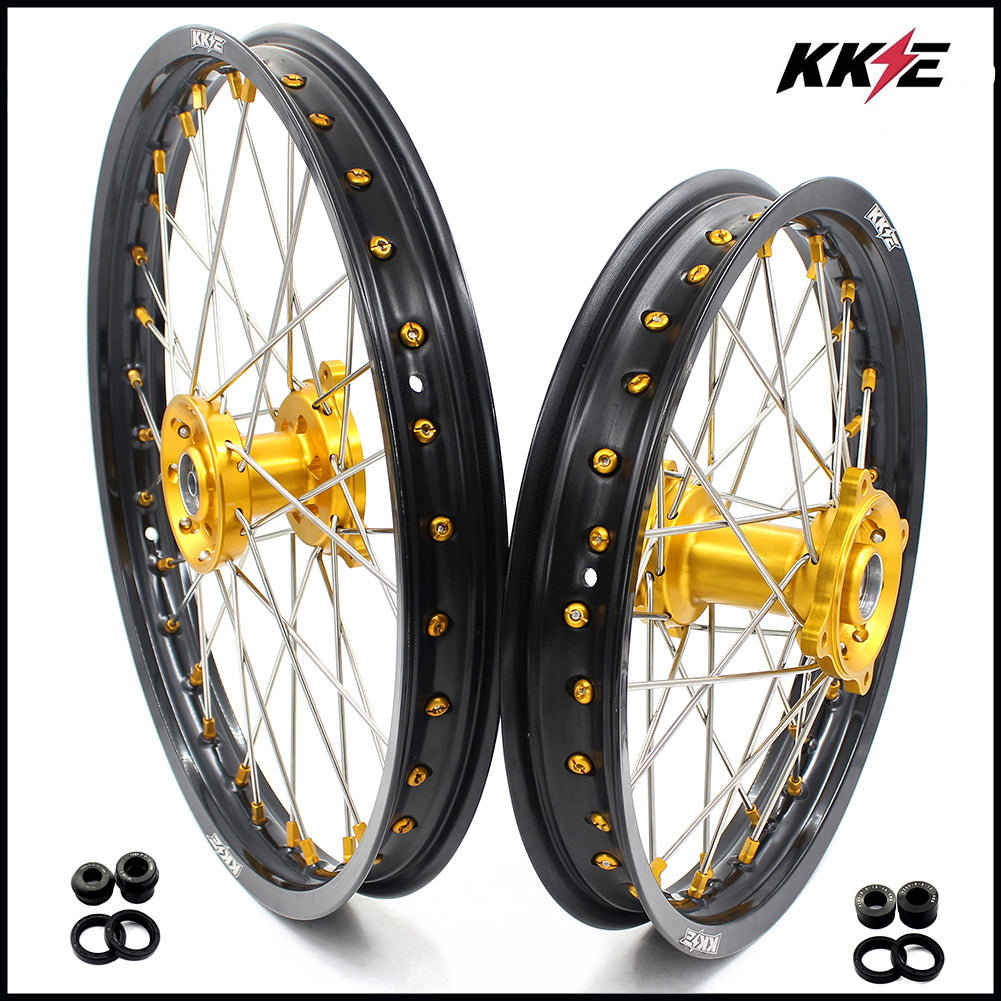 KKE 19 & 16 RM80 RM85 1993-2017 Spoked Kids Wheels Rims Set for Suzuki Gold Nipple Black Rims