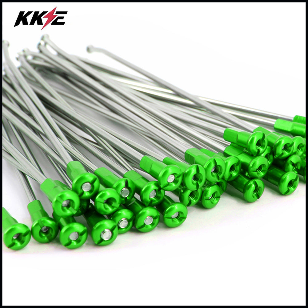 KKE 1.6*21 FRONT SPOKE KIT FOR KAWASAKI KX250F 05-18 KX450F 07-18 WITH GREEN ALLOY NIPPLE