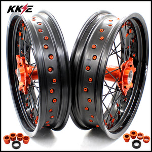 KKE 3.5 & 4.25 Supermoto Motard Wheels Set for KTM SX SX-F XC-F XC XCW EXC EXC-F EXC-W 125-530 2003-2020 Orange Nipple Black Spoke