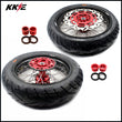 KKE 17 Inch Supermoto Wheels Tires for SUZUKI RMZ250 2007 RMZ450 2005-2020 Red