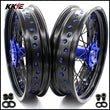 KKE 3.5 & 4.25 Supermoto Wheels for SUZUKI DRZ400SM 2005-2020 Blue Black