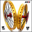 KKE 21 & 19 Cast Red Hubs Billet Gold Rims for Honda CR125R 1998-2001 CR250R 1997