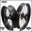 KKE 2.5*19 & 4.25*17 Cush Drive Supermoto Wheels Set for 990 950 2003-2015 Front Dual Disc Black
