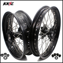 Load image into Gallery viewer, KKE 2.5*19 & 4.25*17 Cush Drive Supermoto Wheels Set for KTM 990 950 2003-2015 Front Dual Disc Black