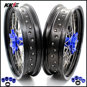 KKE 3.5 & 4.25 Supermoto Motard Wheels Set for KTM SX SX-F XC XC-F XCW EXC EXC-F EXC-W 125-530 2003-2020 Blue Hubs