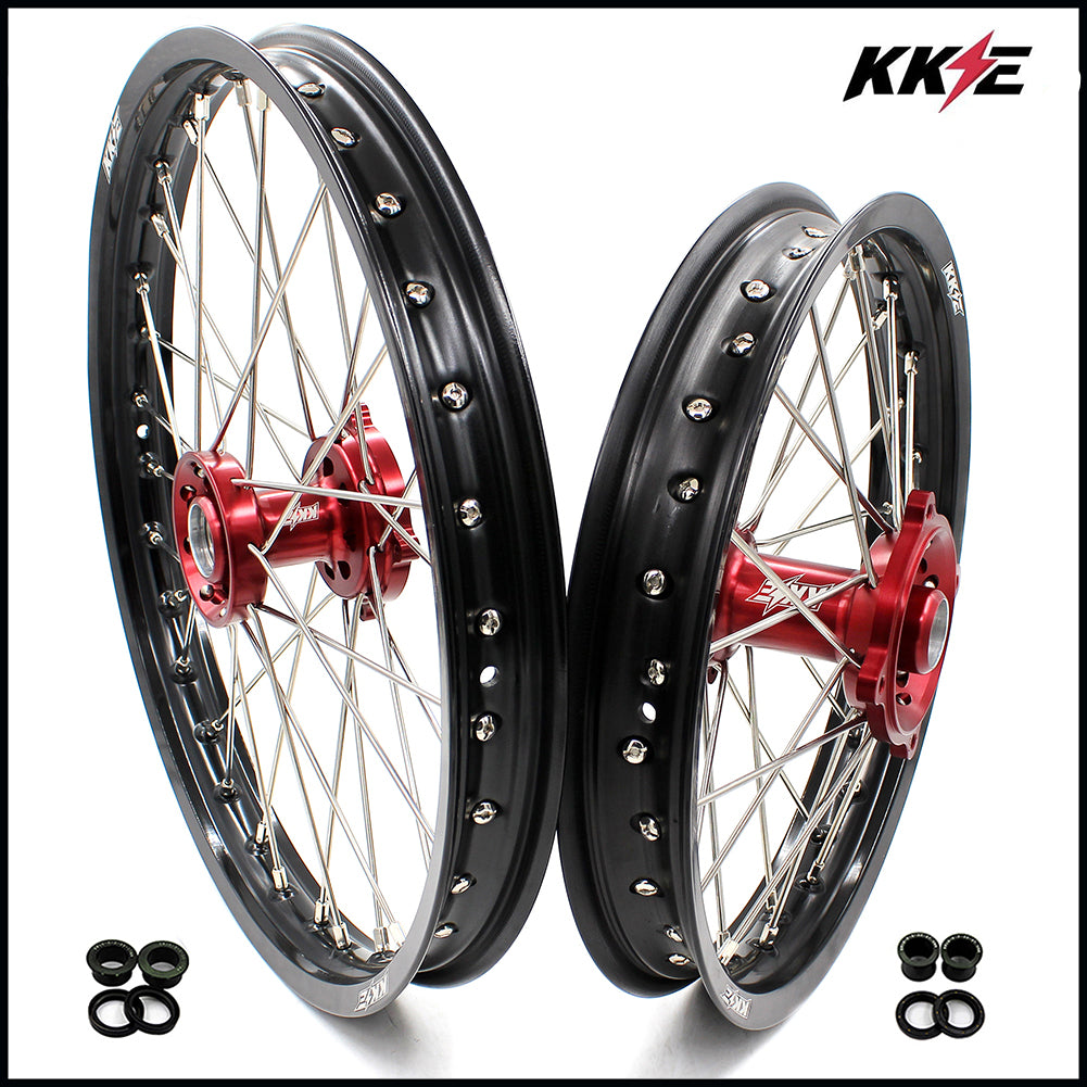 KKE 19 & 16 Spoked Big Kid's Wheels Rims Set for Honda CR80R 1993-2002 CR85R 2003-2008 Red Hub Black Rims