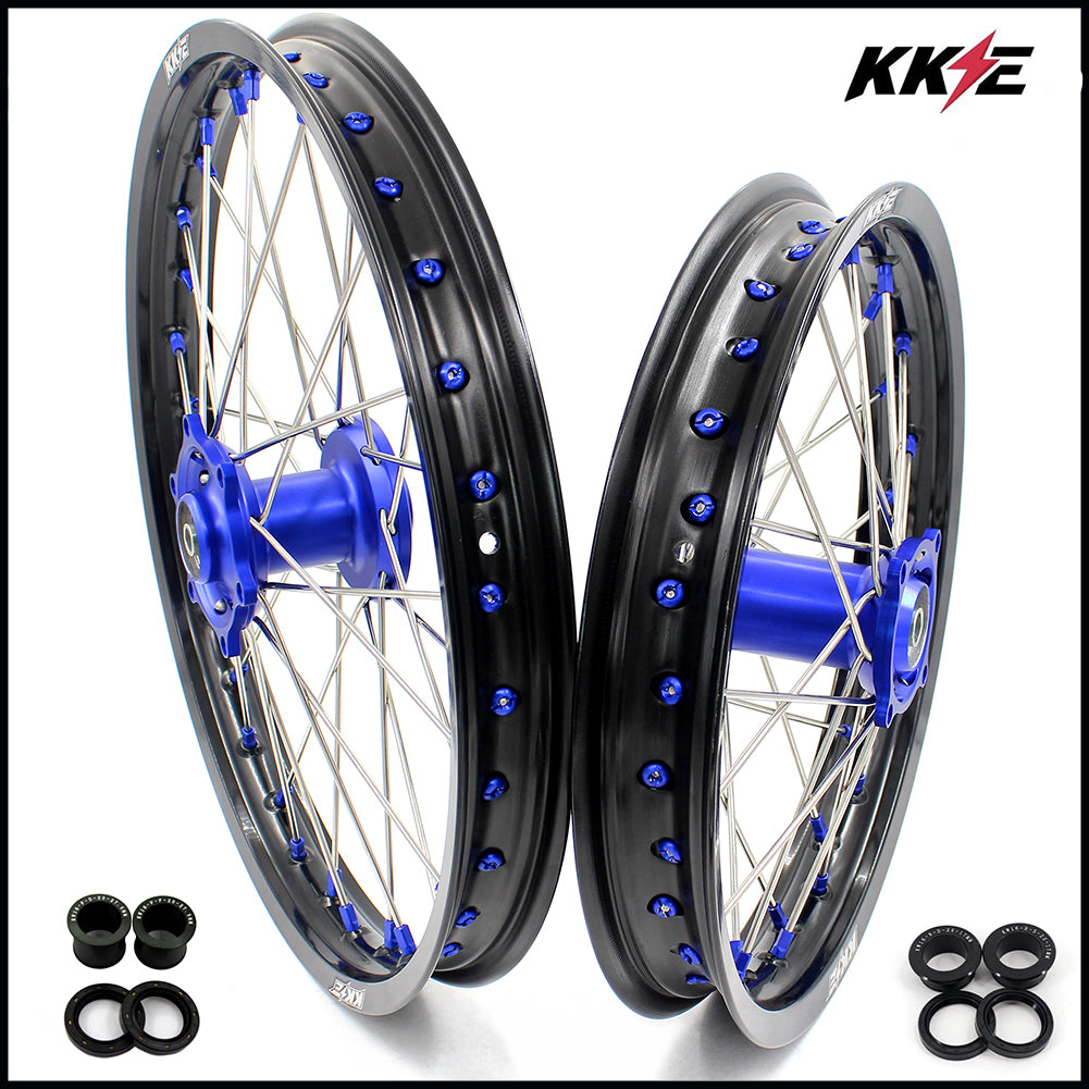 KKE 19 & 16 Big Spoked Wheels Rims Set for Kawasaki KX80 1993-2000 KX85 2001-2015 Blue Nipple Black Rims