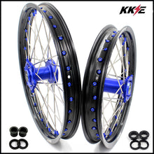 Load image into Gallery viewer, KKE 19 & 16 Big Wheels Rims for Kawasaki KX80 KX85 KX100 Blue Nipple