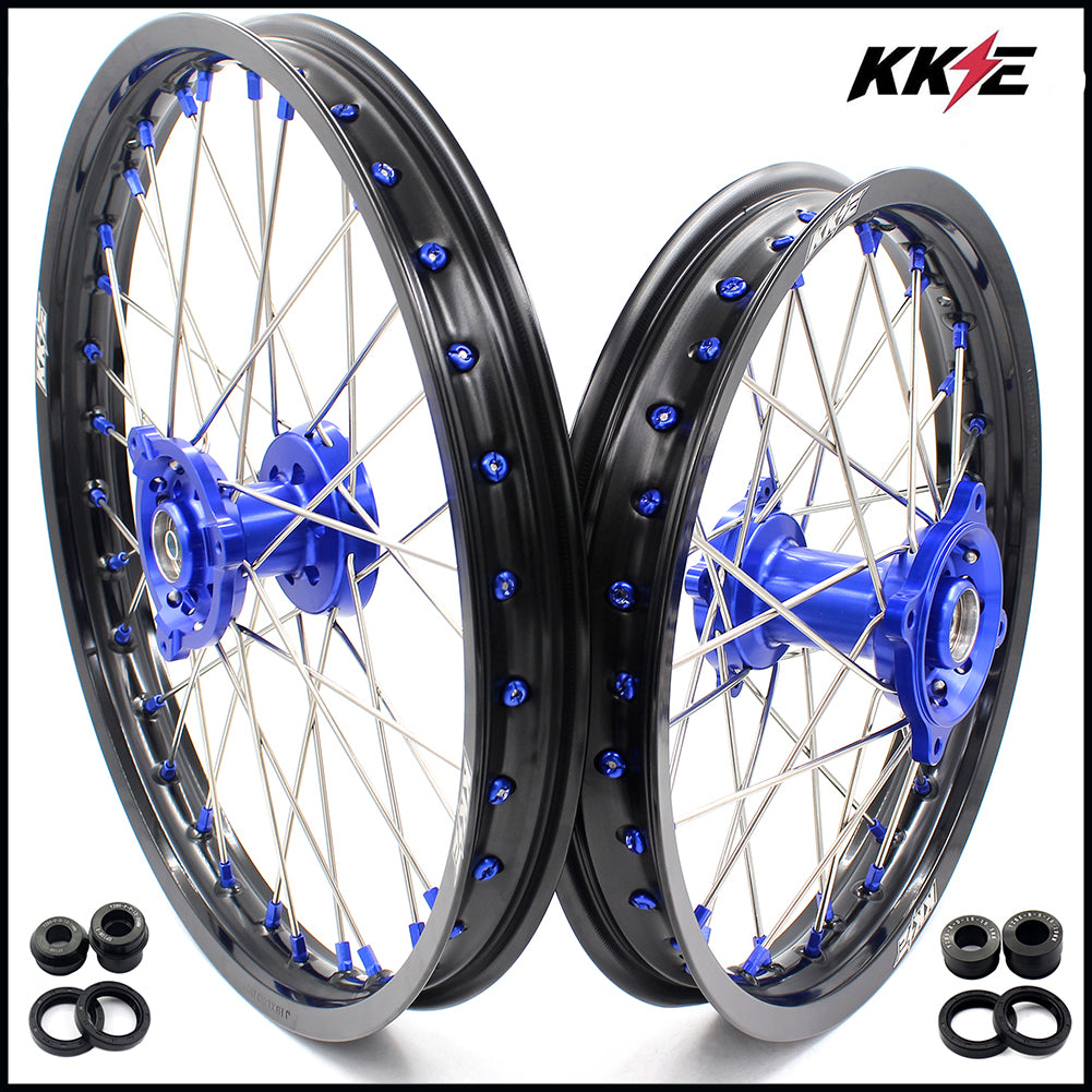KKE 19 & 16 Big Kids Wheels Rims Set for Yamaha YZ80 1990-2001 YZ85 2002-2018 Blue Nipple Black Rims