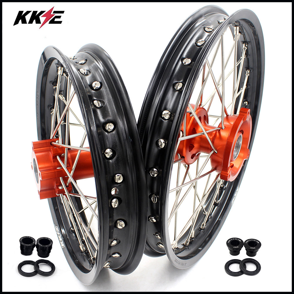 KKE 14 & 12 Spoked Kid's Wheels Rims Set for KTM 50 SX 2014-2016 Orange Hub Black Rims