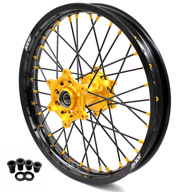 KKE 2.15*19 SPOKED REAR WHEEL RIM FOR SUZUKI RM125 1996-2007 RM250 1996-2008 GOLD NIPPLE BLACK SPOKE - KKE Racing