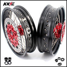 Load image into Gallery viewer, KKE 3.5/4.25 Cush Drive Supermoto Wheels for HONDA XR650L 1993-2020 Red Sprocket