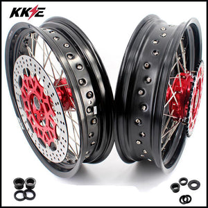 KKE 3.5/4.25 Cush Drive Supermoto Wheels for HONDA XR650L 1993-2020 Red Sprocket