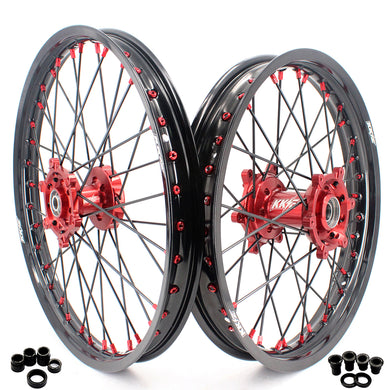 KKE 21/19 MX SPOKED WHEELS RIMS SET FOR SUZUKI RM125 96-07 RM250 96-08 RED NIPPLE BLACK SPOKE - KKE Racing