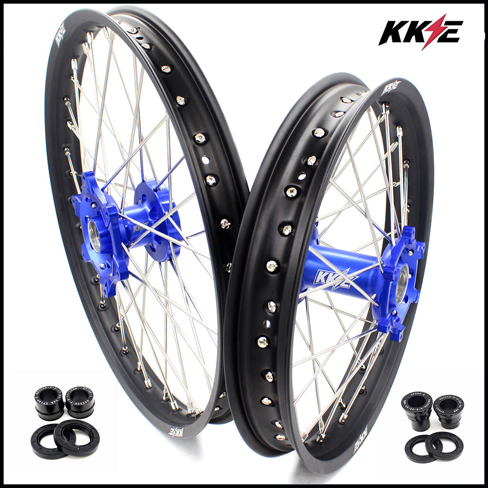 KKE 21 & 18 Enduro Wheels Rims Set for Yamaha WR250X 2008-2011 Blue Hub Black Rims