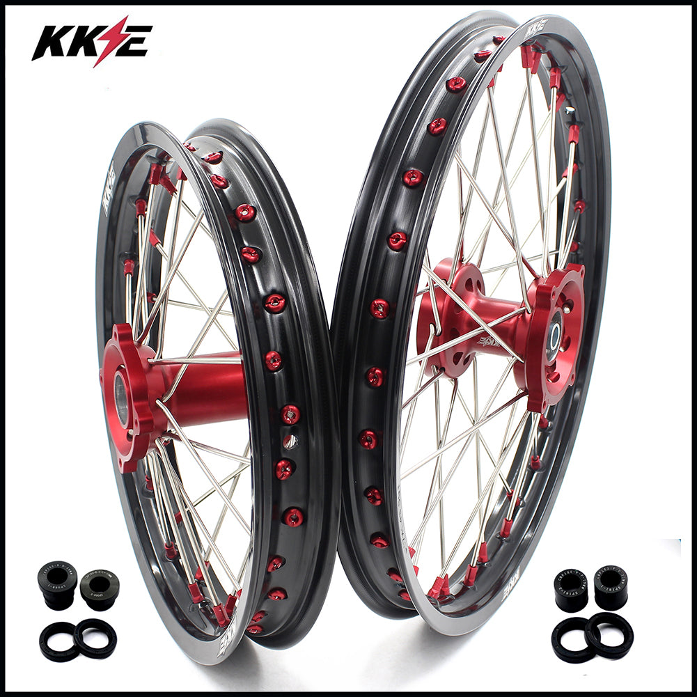 KKE 19 & 16 Spoked Kids Wheels Set for Honda CRF150R 2007-2018 Red Alloy Nipple Black Rims