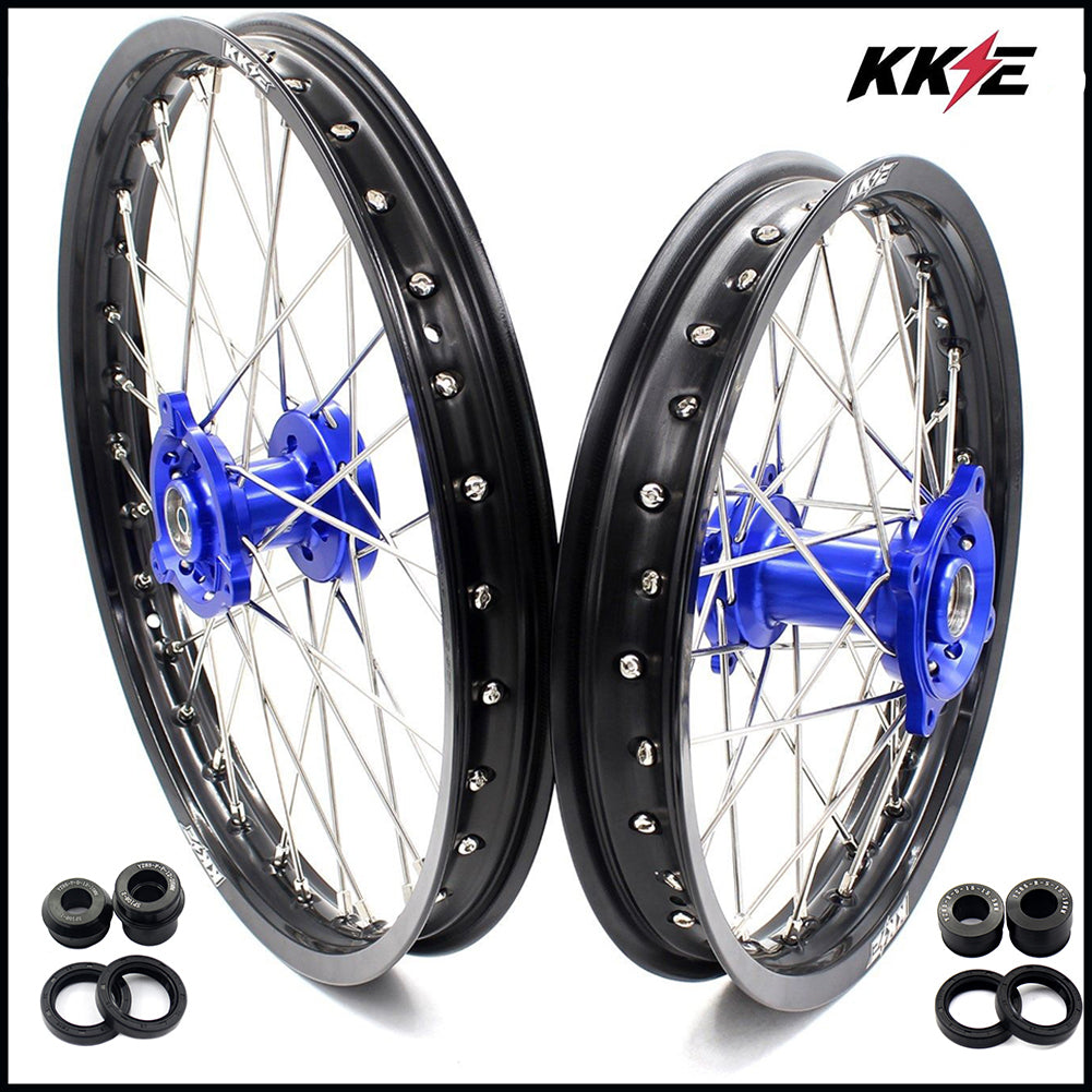 KKE 19 & 16 Spoked Kid's Wheels Rims Set for Kawasaki KX80 1993-2000 KX85 2001-2015 Blue Hub Black Rim