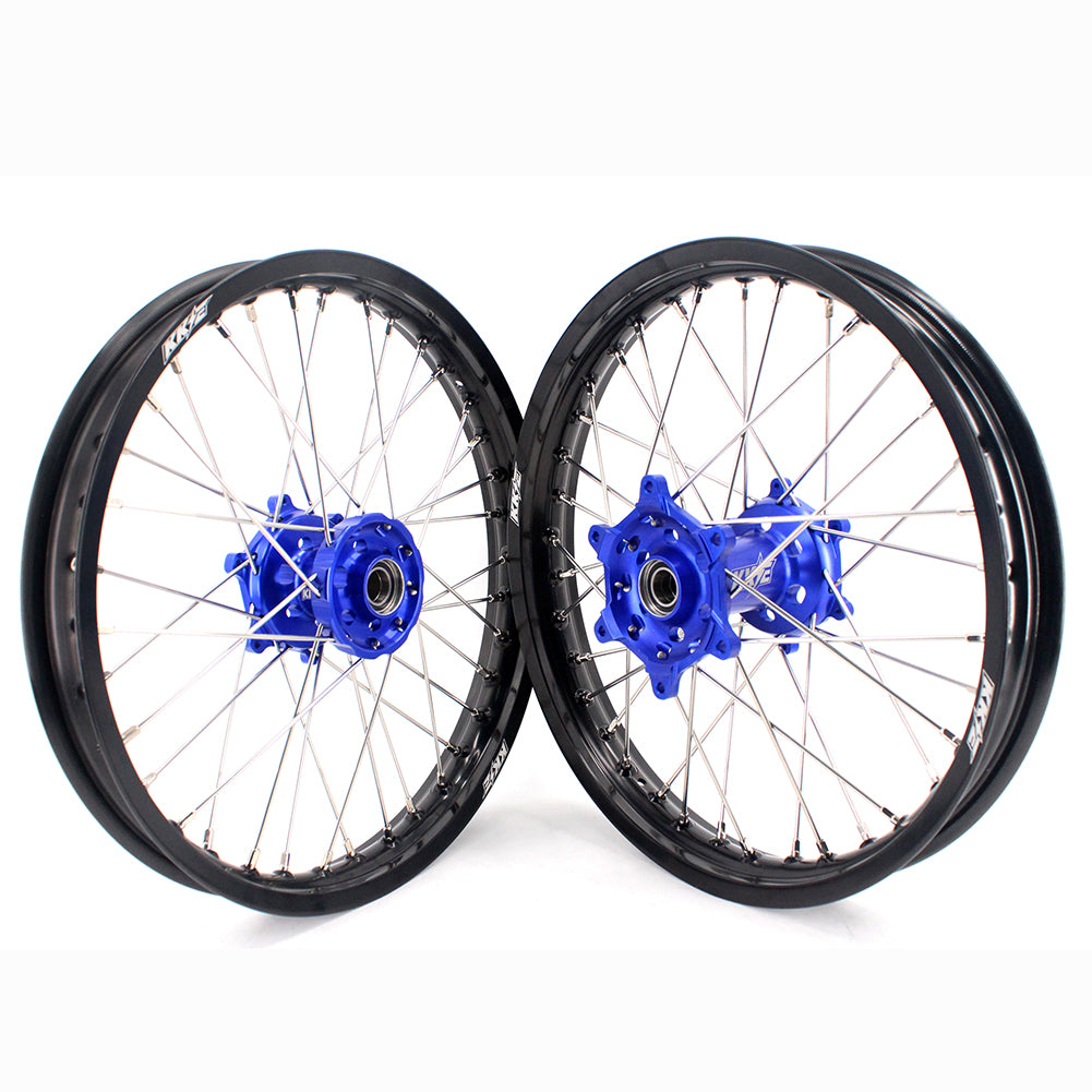 KKE 1.85*19 & 2.15*19 Spoked Flat Track Wheels Set for Yamaha YZ125 YZ250 YZ250F YZ450F Blue Black