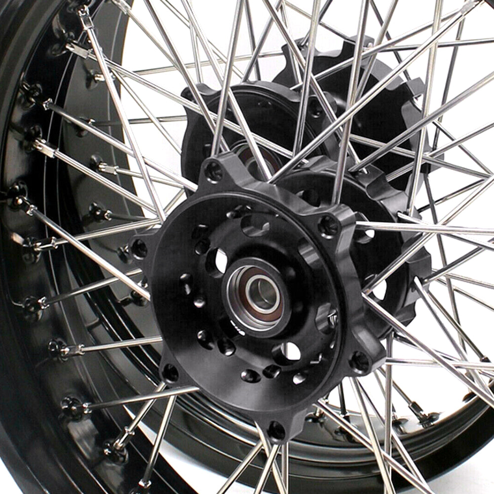 KKE 3.5 & 4.25 Cush Drive Supermoto Motard Wheels Set for Suzuki DR650SE 1996-2016 Black Hubs Rims