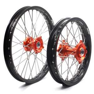 KKE 17/14 KID'S SMALL WHEELS RIMS SET FIT KTM85 SX 2003-2018 MINI BIKE ORANGE CNC HUB - KKE Racing