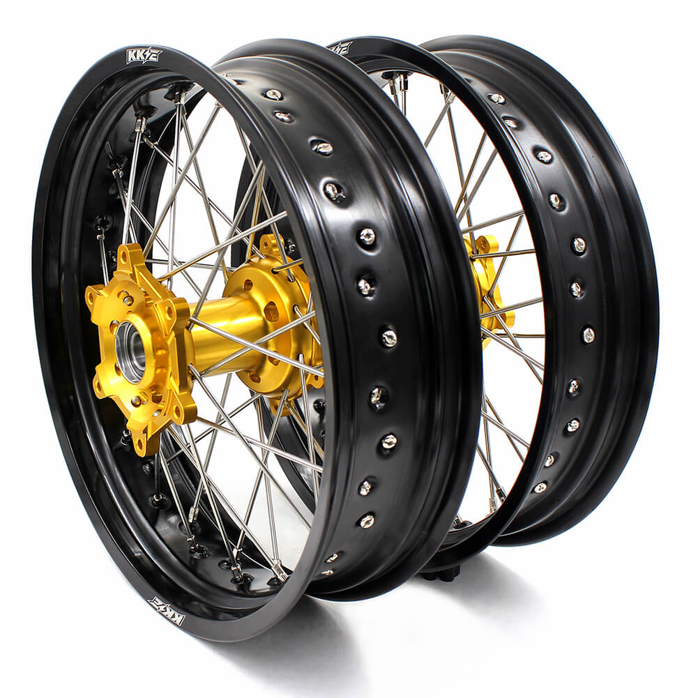 KKE RM125 1996-2007 RM250 1996-2008 3.5/4.25 SUPERMOTO WHEELS RIMS SET FIT SUZUKI GOLD CNC HUB