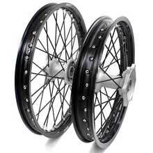 Load image into Gallery viewer, KKE CASTING 21/19 MX WHEELS SET FIT YAMAHA YZ125 YZ250 YZ250F YZ450F SILVER HUB BLACK RIM - KKE Racing