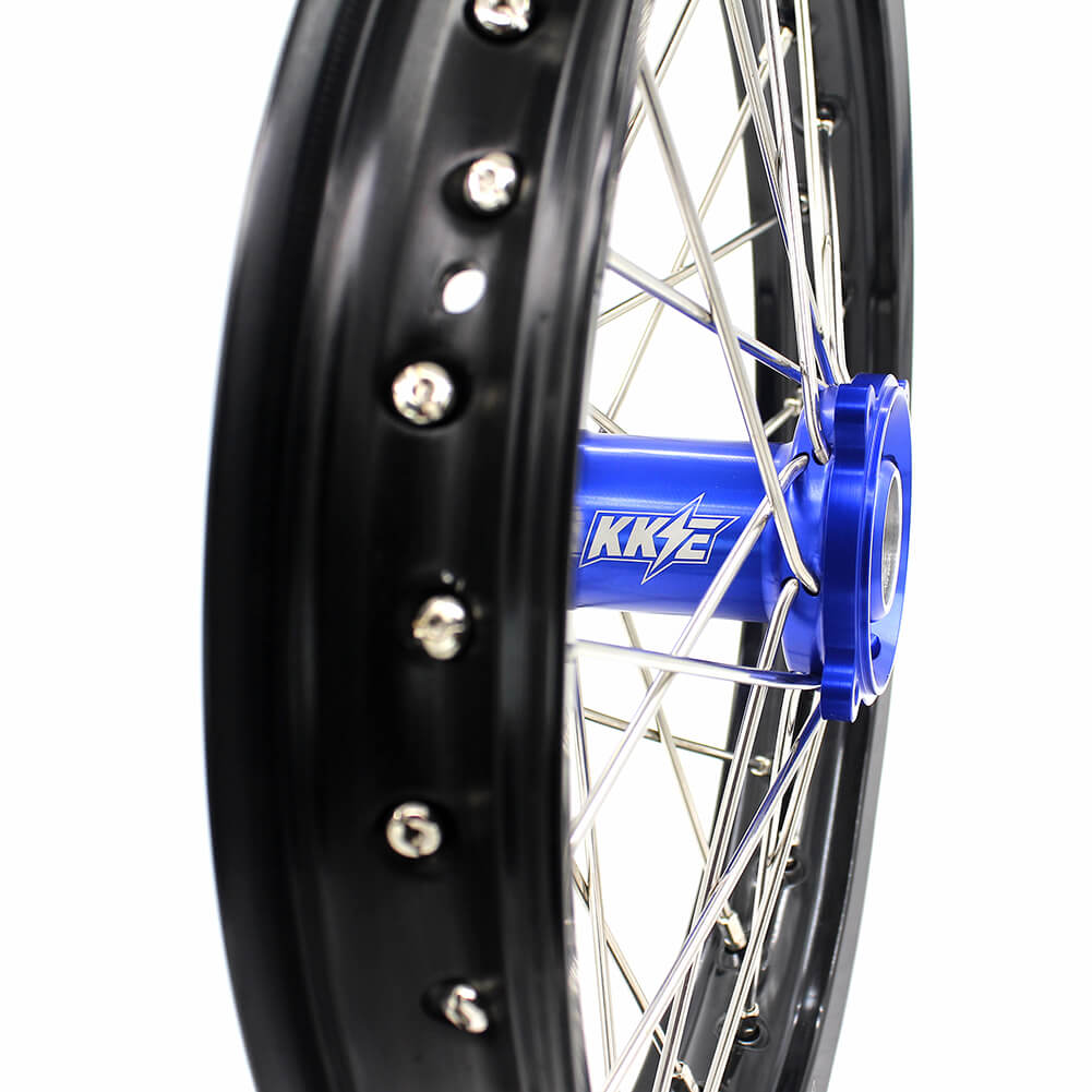 KKE 17/14 KID'S WHEELS RIMS SET FIT YAMAHA YZ80 1990-2001 YZ85 2002-2018 BLUE CNC HUB MINI BIKE