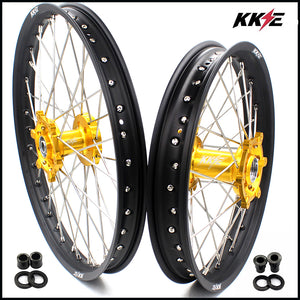 KKE 21 & 18 Enduro Wheels Rims Set for Suzuki DRZ400SM 2005-2018 Gold Hub Black Rim