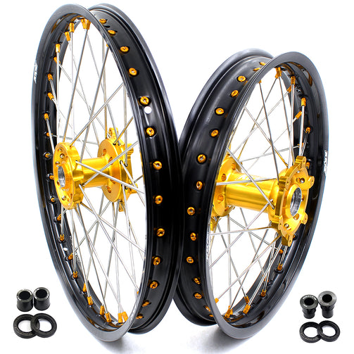 KKE FRONT 1.6*21 INCH REAR 2.15*18 INCH ENDURO WHEELS SET FOR SUZUKI DRZ400 00-04 DRZ400E 00-07 DRZ400S 00-18 GOLD NIPPLE BLACK SPOKE - KKE Racing