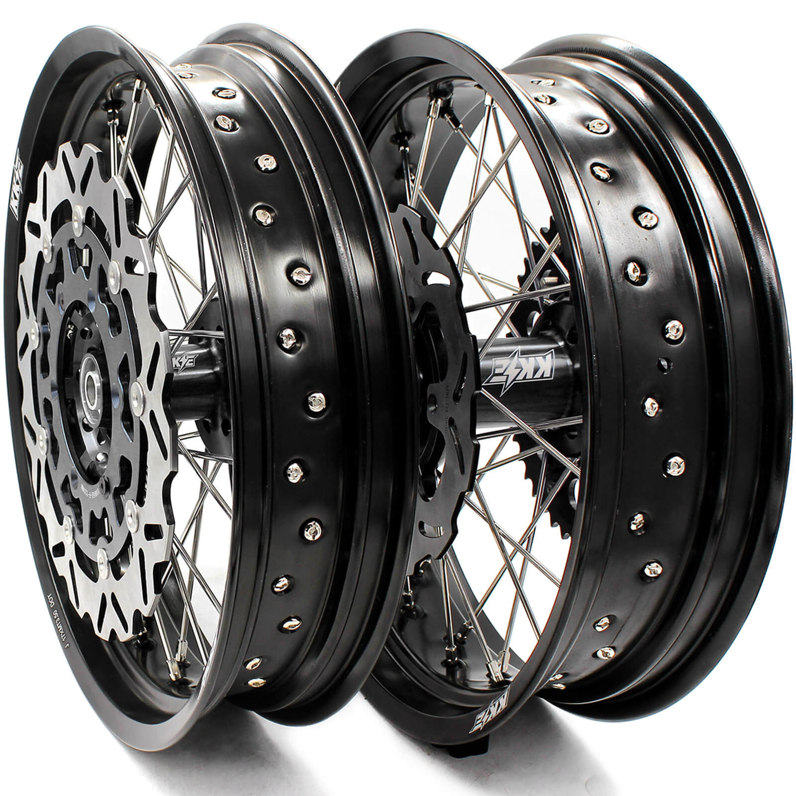 3.5/4.25 WHEELS SET FOR SUZUKI DRZ400 DRZ400E DRZ400S FRONT BLACK 320MM DISC - KKE Racing