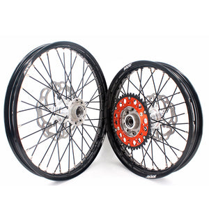 KKE 21 & 19 Casting MX Dirt Bike Wheels Set for KTM SX SX-F XC XCW XC-F 125 150 200 250 300 350 450 505 525 530 2003-2020 Silver Hub Black Spokes