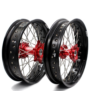KKE 3.5/4.25 SUPERMOTO WHEELS SET FOR HONDA CRF250R 2004-2013 CRF450R 2002-2012 RED HUB - KKE Racing