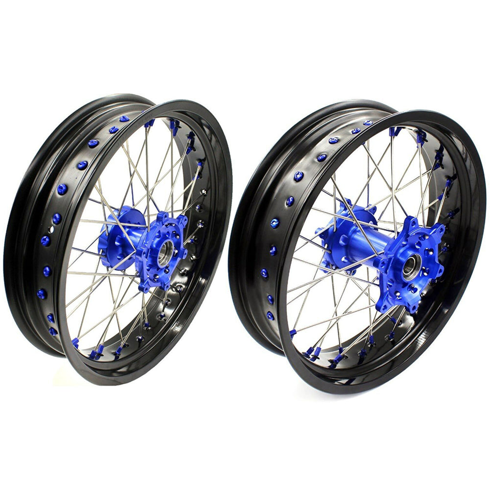 KKE 3.5 & 4.25 Supermoto Wheels Rims Set for YAMAHA YZ125 YZ250 1999-2019 YZ250F 01-19 YZ450F 03-19 Blue Nipple Black Rims