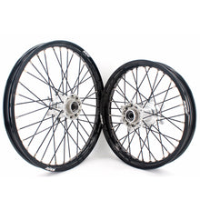 Load image into Gallery viewer, KKE 21 & 19 Casting MX Dirt Bike Wheels Set for KTM SX SX-F XC XCW XC-F 125 150 200 250 300 350 450 505 525 530 2003-2020 Silver Hub Black Spokes