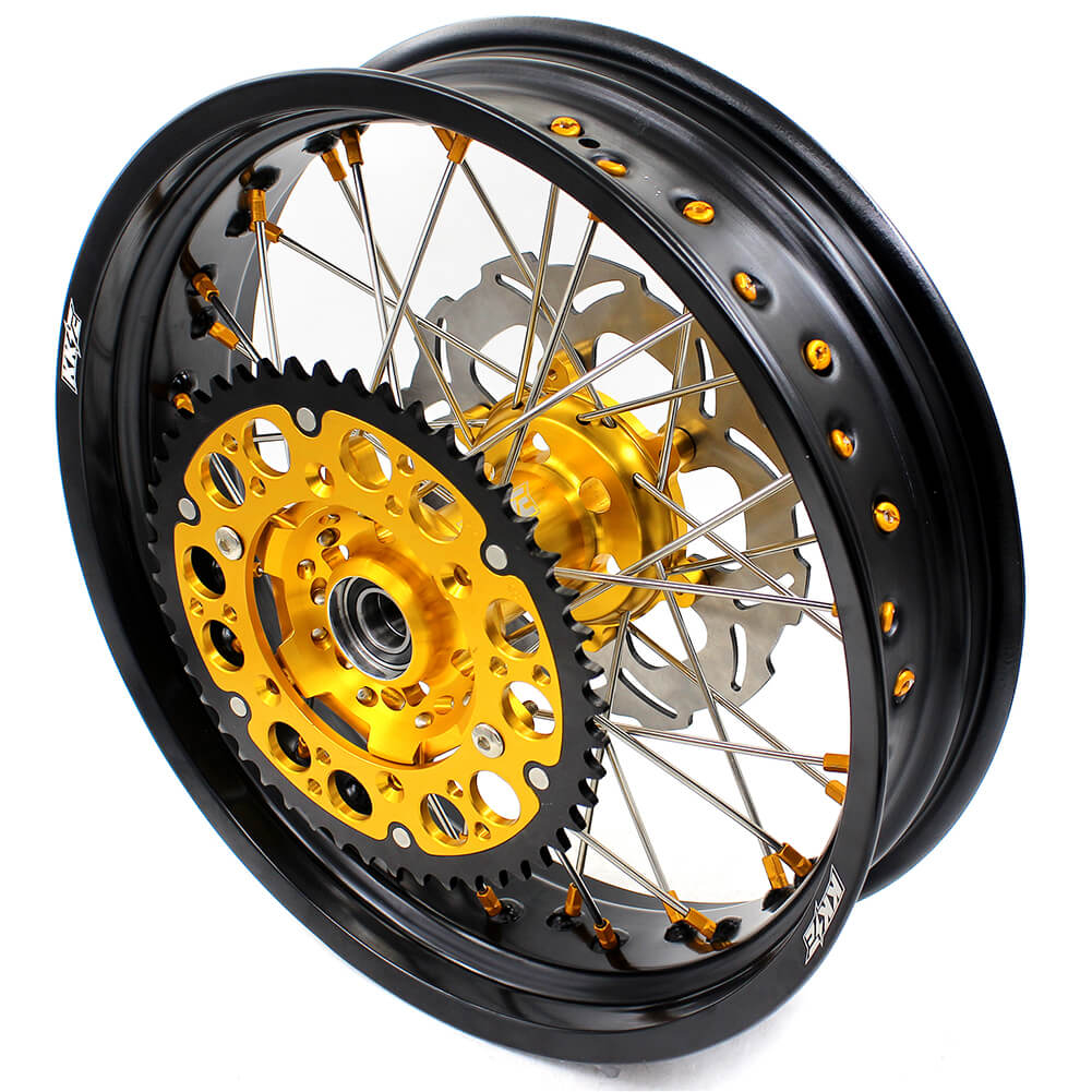 KKE DRZ400 DRZ400S DRZ400E DRZ400SM 3.5/4.25*17 SUPERMOTO WHEELS RIMS SET FIT SUZUKI GOLD CNC HUB & NIPPLE - KKE Racing