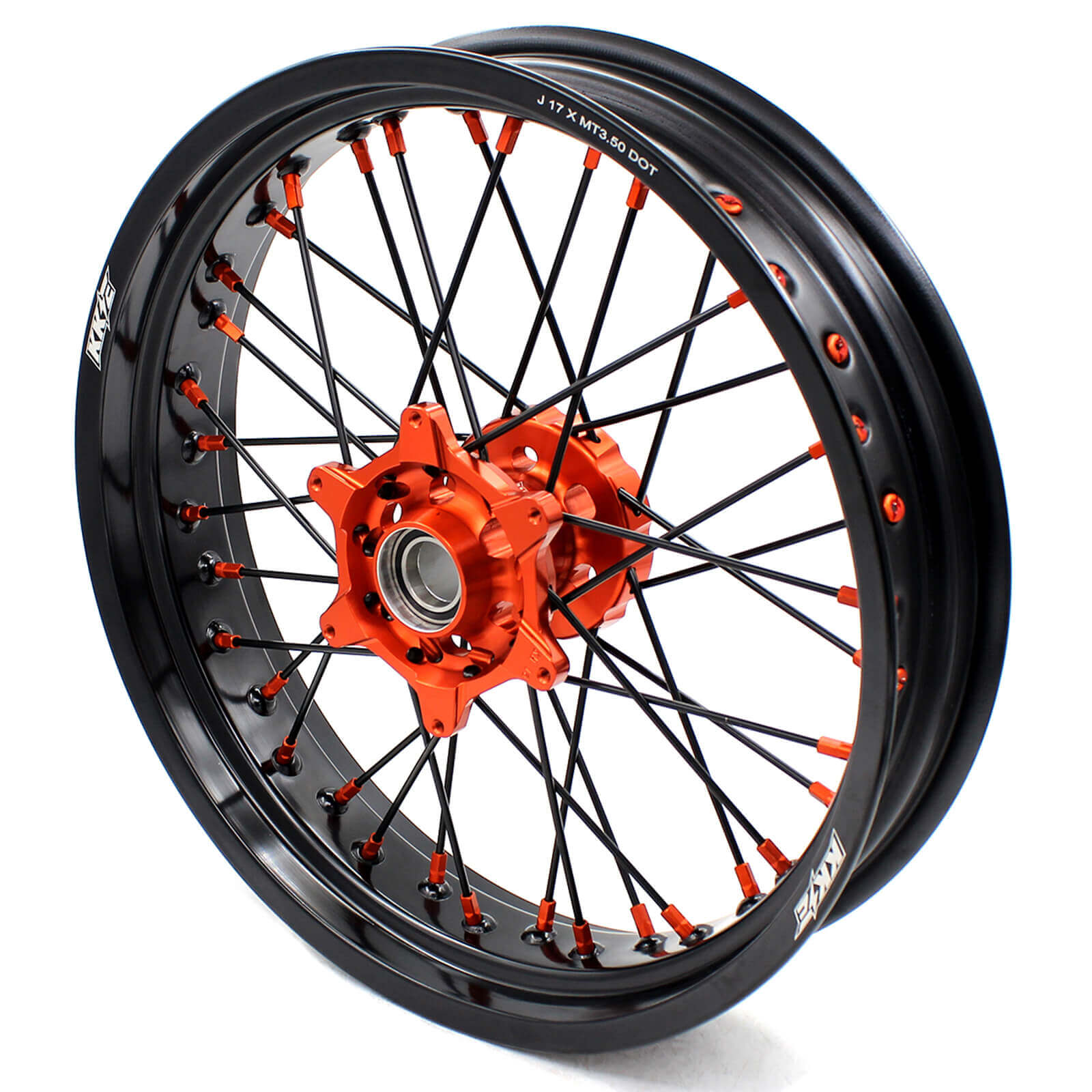 KKE 3.5/4.25 CNC SUPERMOTO WHEELS SET FOR KTM 125-530 2003-2019 ORANGE NIPPLE BLACK SPOKE - KKE Racing