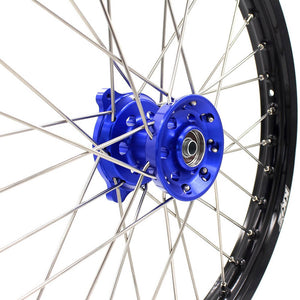 KKE 19/16 KID'S WHEELS RIMS SET FOR KAWASAKI KX80 1993-2000 KX85 2001-2015 BLUE CNC HUBS BLACK ALUMINUM RIMS - KKE Racing
