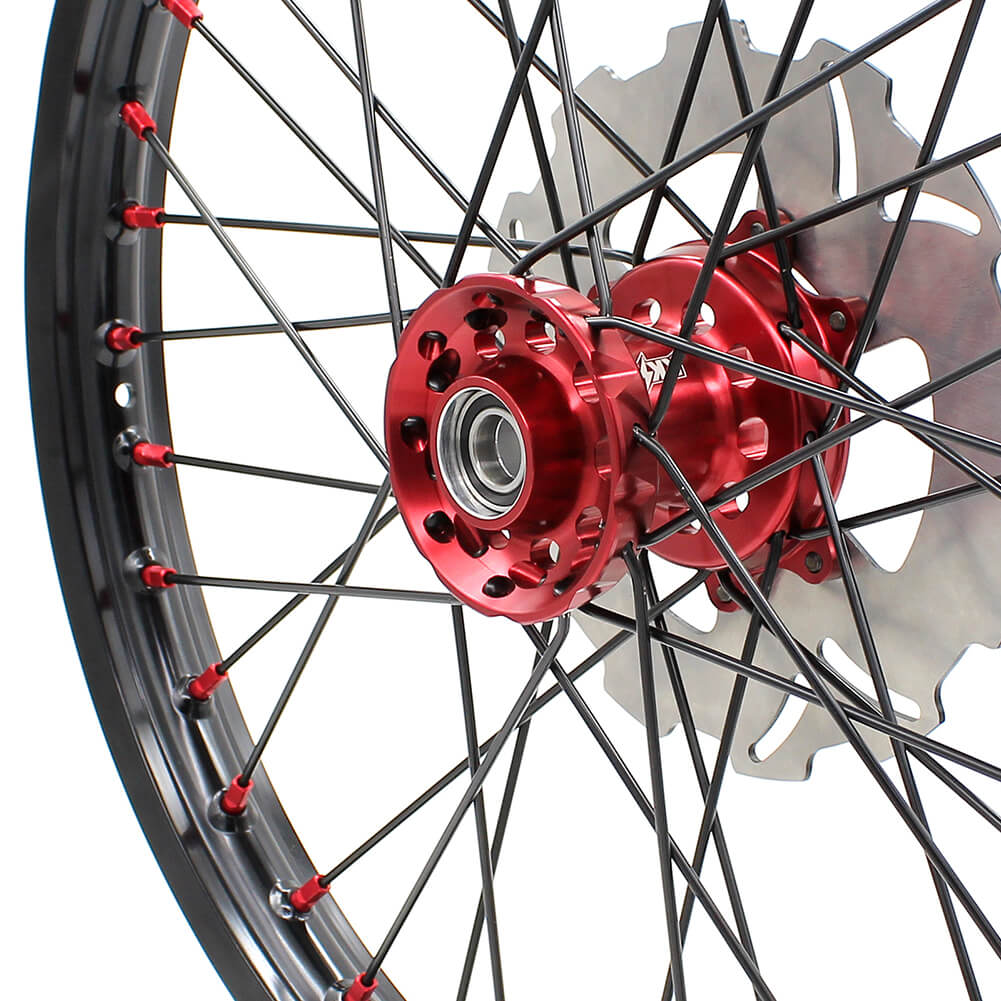 KKE MX/ENDURO WHEELS SET FIT HONDA CR125R CR250R 2002-2013 CRF250R 04-13 CRF450R 02-12 RED NIPPLE BLACK SPOKE - KKE Racing