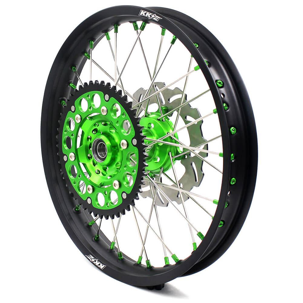 KKE 21/19 MX COMPLETE WHEELS RIMS SET FIT KAWASAKI KX125 KX250 KX250F KX450F DIRTBIKE GREEN CNC HUB & NIPPLE