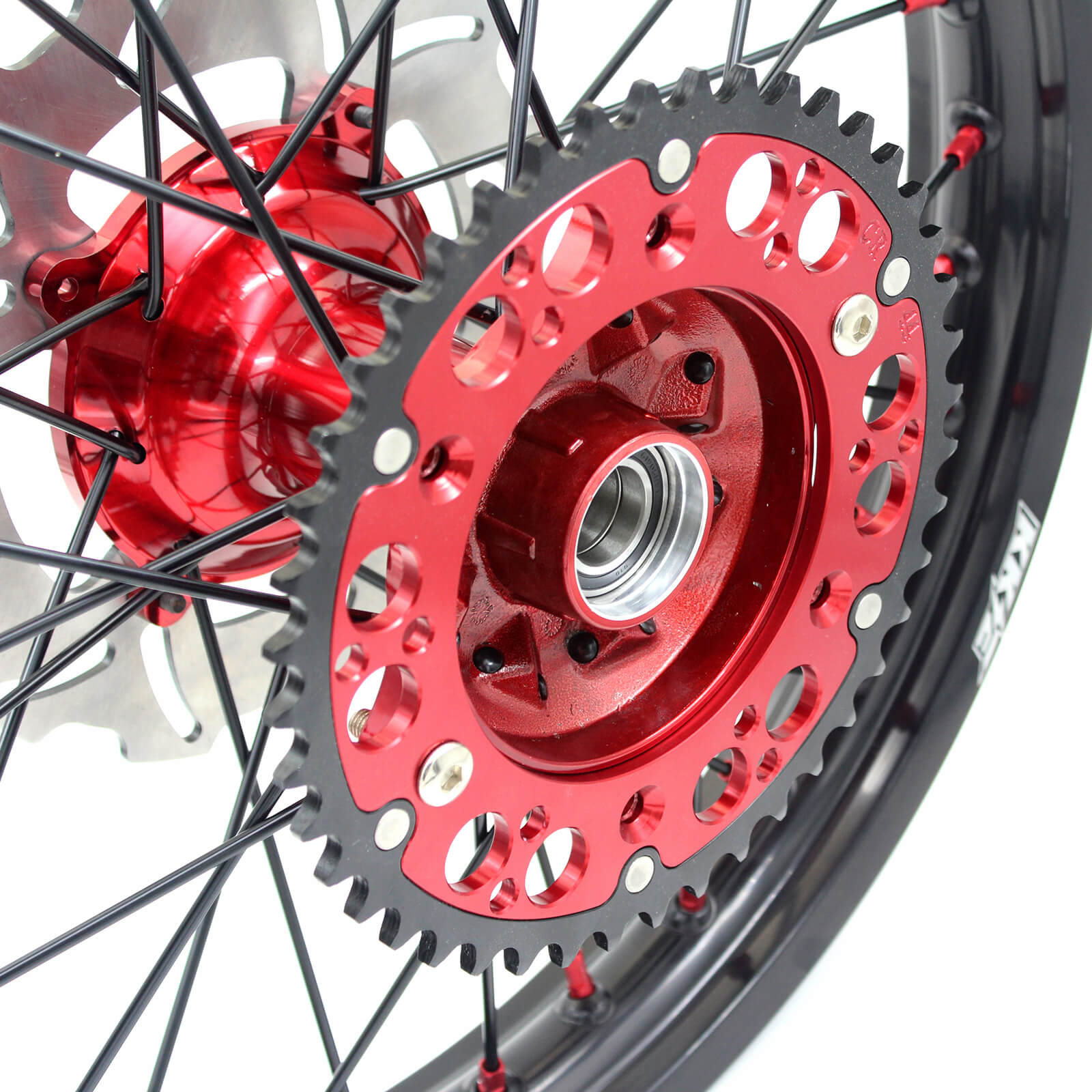 KKE 21/19 CASTING SPOKED WHEELS SET FOR HONDA CR125R CR250R 2002-2013 BLACK SPOKE DISCS - KKE Racing