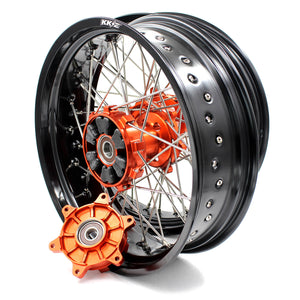 KKE 3.5/4.25 CUSH DRIVE SUPERMOTO WHEELS SET FOR KTM SX SXF XCW XCF EXC EXCW 2003-2019 ORANGE HUB - KKE Racing