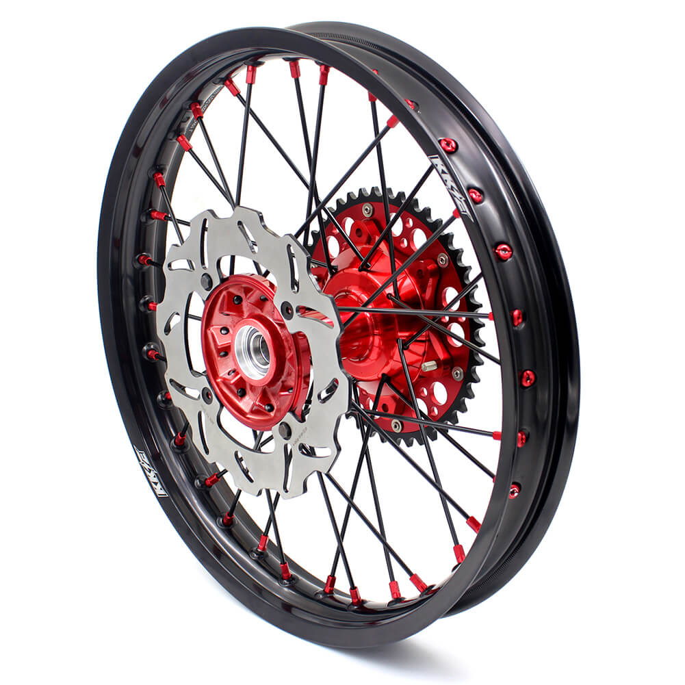 KKE 21 & 19 Casting MX Wheels Set for Honda CR125R 1998-2001 CR250R 1997-2001 Red Nipple Black Spoke 240MM Brake Disc Rotors
