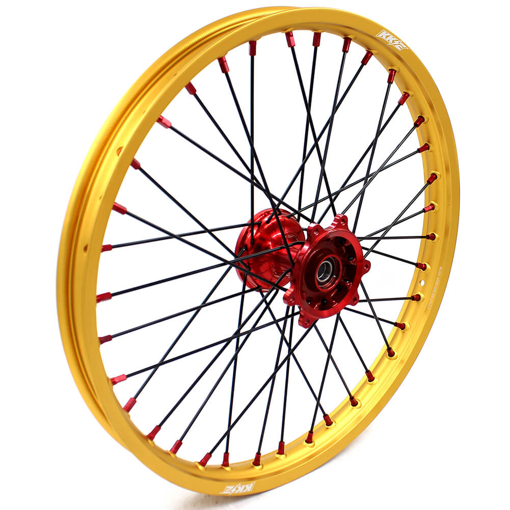 KKE 21/19 MX CASTING WHEELS SET FIT HONDA CR125R CR250R 2000-2013 GOLD RIMS