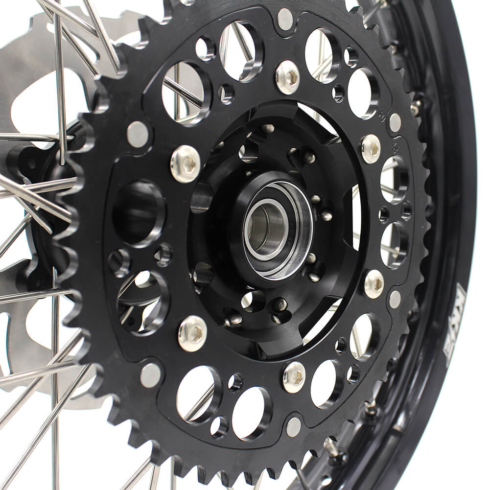 KKE RM125 1996-2007 RM250 1996-2008 21/19 MX WHEELS RIMS SET FIT SUZUKI DIRTBIKE BLACK CNC HUB