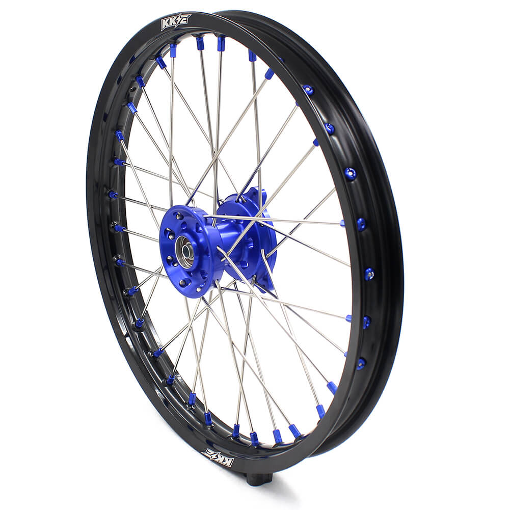 KKE 19/16 BIG KIDS WHEELS SET FIT YAMAHA YZ80 1990-2001 YZ85 2002-2018 BLUE CNC HUB & NIPPLE BLACK RIMS - KKE Racing