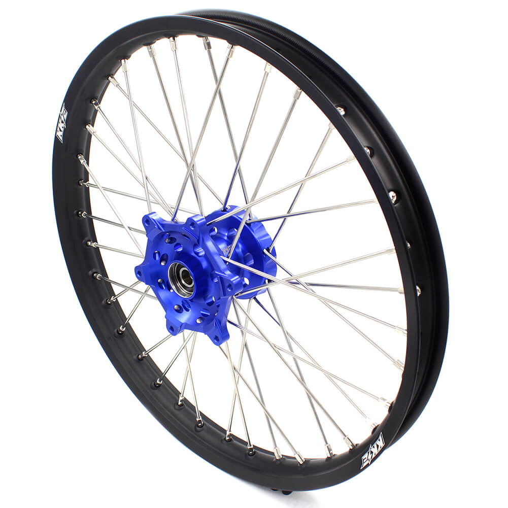 KKE 21/18 ENDURO WHEELS RIMS SET FIT YAMAHA WR250X 2008-2011 DIRT BIKE CNC BLUE HUB