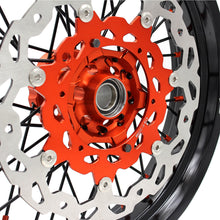 Load image into Gallery viewer, KKE 3.5/4.25 COMPLETE SUPERMOTO WHEELS SET FOR KTM 125-530 2003-2019 ORANGE NIPPLE BLACK SPOKE - KKE Racing