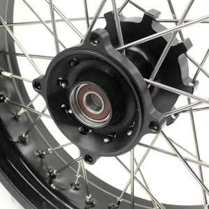 KKE 3.5 & 4.25 Cush Drive Supermoto Motard Wheels Set for Suzuki DR650SE 1996-2020 Black Hubs Rims