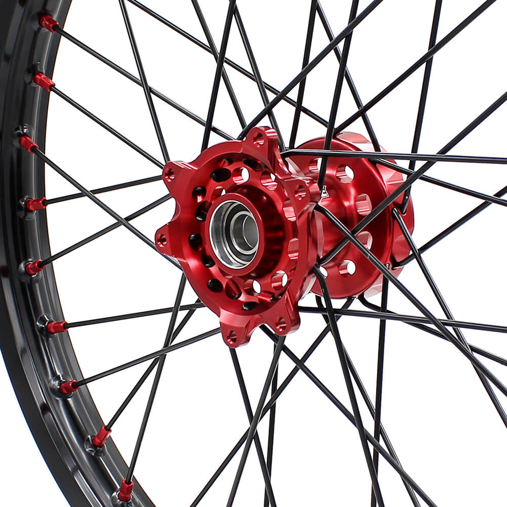 KKE MX/ENDURO WHEELS SET FIT HONDA CR125R CR250R 2002-2013 CRF250R 04-13 CRF450R 02-12 RED NIPPLE BLACK SPOKE